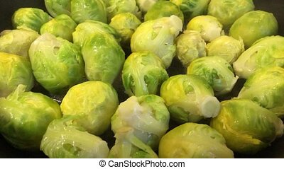 Brussels sprouts on a frying pan