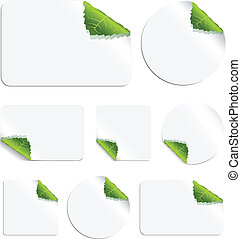Leaf Stickers - Set of vector stickers with curling leaf...