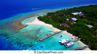 Aerial flying drone view of Maldives white sandy beach...