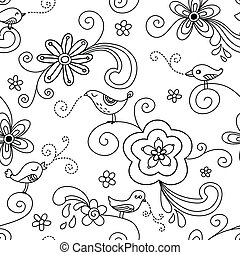 Bird Floral Seamless Pattern - Seamless pattern with...