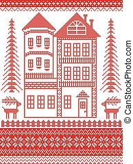 Nordic style and inspired by Scandinavian Christmas pattern...