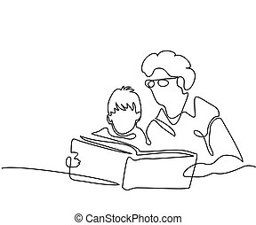 Grandmother with grandson reading book - Continuous line...