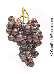 Black grapes isolated on white background