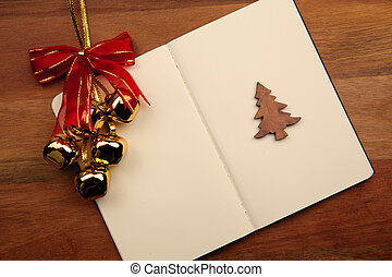 Blank Notebook With Christmas Bell - Blank Notebook With...