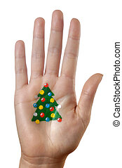 Christmas tree pattern on a hand