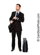 Young businessman impatient - Young attractive businessman...