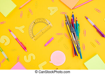 back to school or office styed desktop pattern with...