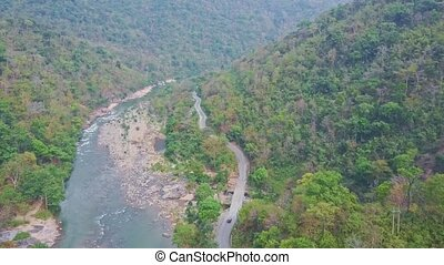 High Aerial View Rocky River and Road between Tropical...
