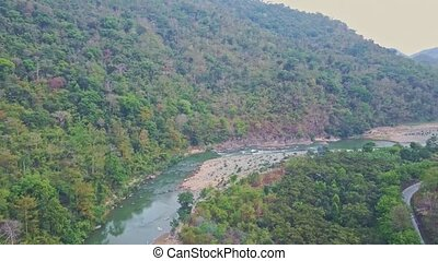 Drone Shows Rocky River Turns among Pictorial Highland -...