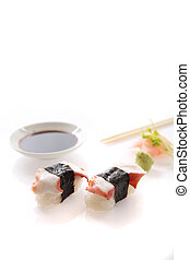 Octopus sushi isolated in white background