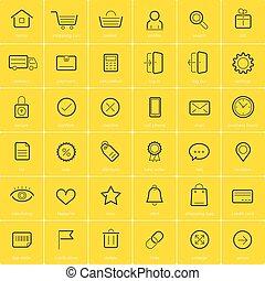 Ecommerce icons on yellow background