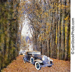 Vintage cars (oil painting) - Front view of a vintage Dodge...