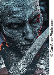 creepy zombie warrior - Halloween. Close-up portrait of a...