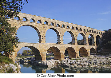 Pont du Gard Roman aquaduct near Avignon in France