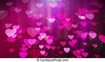 """Love hearts animation with pink background"" - ""Dreamlike 3d..."