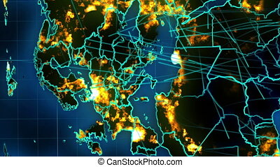 """""""Liason world map with sparkling connections"""" - """"Whirling 3d..."""
