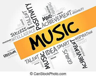 MUSIC word cloud collage, creative business concept...