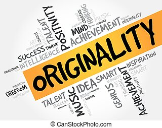 Originality word cloud collage, creative business concept...