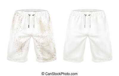 White shorts before and after washing dirt removal - Pare of...