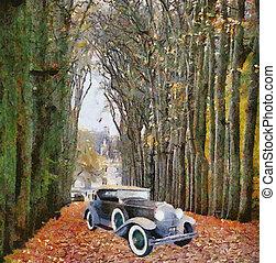 Vintage cars (oil painting)