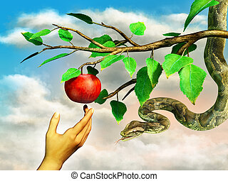 Apple temptation - Eva's hand reaching for the forbidden...