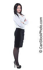 Fullbody business woman smiling isolated over a white -...