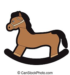 Isolated wooden horse toy on a white background, Vector...