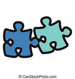 Pieces of a puzzle - Isolated pieces of a puzzle, Vector...