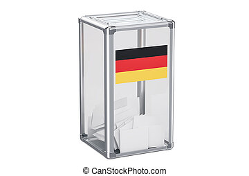 German election ballot box with flag, 3D rendering isolated...
