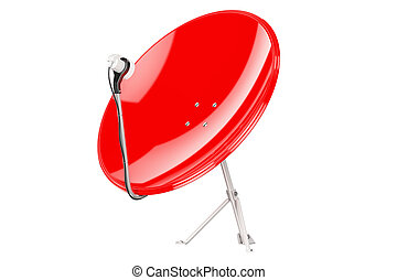 Red Satellite Dish, 3D rendering isolated on white...