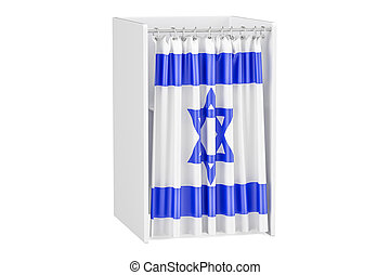 Vote in Israel concept, voting booth with Israeli flag, 3D...