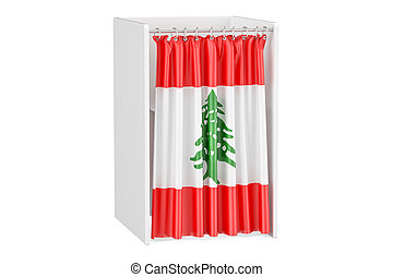 Vote in Lebanon concept, voting booth with Lebanese flag, 3D...