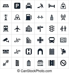 Vector Illustration Set Of Simple Infrastructure Icons....