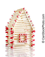 House from Matches - House made from matches Isolated on...