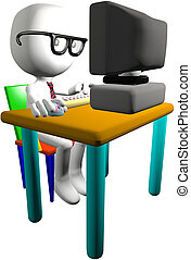 Nerd genius computer user 3D PC monitor desk - Nerd boy...