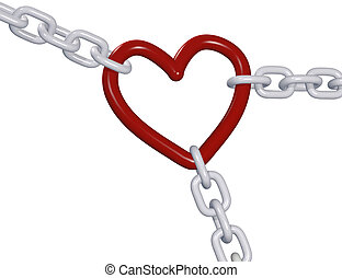 Valentine 3D heart three love chain links pull - Three 3D...