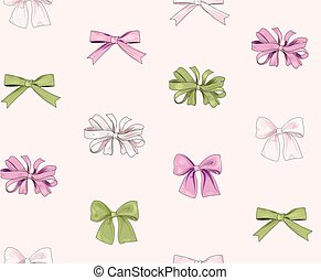 Holiday decor seamless pattern. Fashionable bow ornament