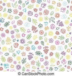 Floral icon seamless pattern.  Flower bloom background.