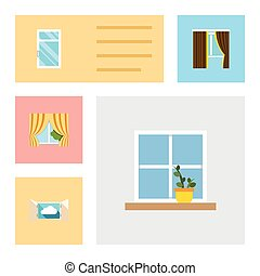 Flat Icon Window Set Of Flowerpot, Clean, Cloud And Other...