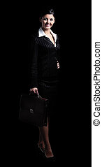 Full body portrait of a confident business woman isolated -...