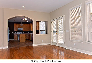 Window Blinds in Remodeled House - The den and kitchen area...