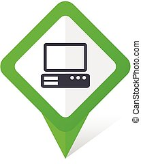 Computer green square pointer vector icon in eps 10 on white...