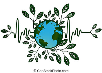 Earth Global Map Go Green Heart Beat - Earth Global Health...