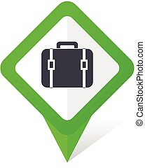 Bag green square pointer vector icon in eps 10 on white background with shadow.