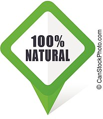 Natural green square pointer vector icon in eps 10 on white...