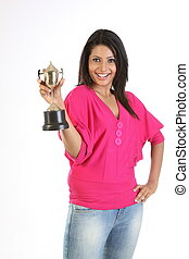smiling woman with gold trophy