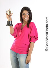 woman with gold trophy