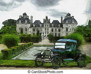 Vintage cars (oil painting) - Front view of a vintage Ford T...