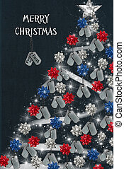 Military Christmas - Military dog tags on holiday tree with...