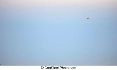 Final approach. - Airbus A-320 jet plane landing, Tolmachevo...